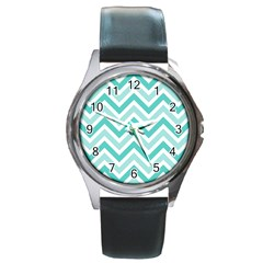 Zig Zags Pattern Round Metal Watch