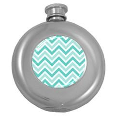 Zig Zags Pattern Round Hip Flask (5 Oz) by Valentinaart
