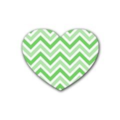 Zig Zags Pattern Rubber Coaster (heart)  by Valentinaart