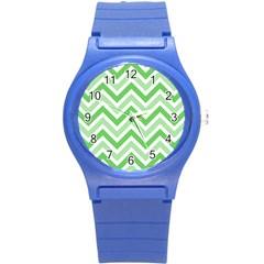 Zig Zags Pattern Round Plastic Sport Watch (s) by Valentinaart