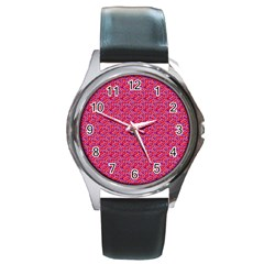 Red White And Blue Leopard Print  Round Metal Watch
