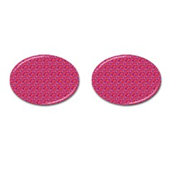 Red White And Blue Leopard Print  Cufflinks (oval) by PhotoNOLA