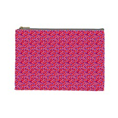Red White And Blue Leopard Print  Cosmetic Bag (large)  by PhotoNOLA