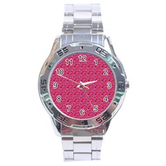 Red White And Blue Leopard Print  Stainless Steel Analogue Watch by PhotoNOLA