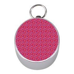 Red White And Blue Leopard Print  Mini Silver Compasses by PhotoNOLA