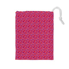 Red White And Blue Leopard Print  Drawstring Pouches (large)  by PhotoNOLA