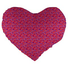 Red White And Blue Leopard Print  Large 19  Premium Flano Heart Shape Cushions by PhotoNOLA