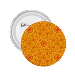 Solar Mandala  Orange Rangoli  2 25  Button by bunart