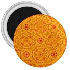 Solar Mandala  Orange Rangoli  3  Magnet by bunart