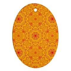 Solar Mandala  Orange Rangoli  Ornament (oval) by bunart