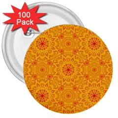 Solar Mandala  Orange Rangoli  3  Button (100 Pack) by bunart