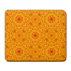 Solar Mandala  Orange Rangoli  Large Mousepad by bunart