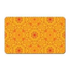 Solar Mandala  Orange Rangoli  Magnet (rectangular) by bunart