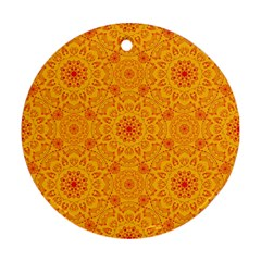 Solar Mandala  Orange Rangoli  Round Ornament (two Sides) by bunart