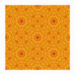 Solar Mandala  Orange Rangoli  Medium Glasses Cloth (2 Sides) by bunart