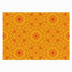 Solar Mandala  Orange Rangoli  Large Glasses Cloth (2 Sides) by bunart