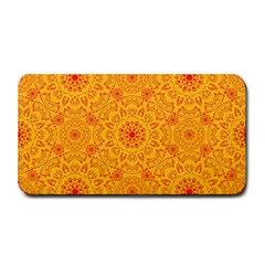Solar Mandala  Orange Rangoli  Medium Bar Mat by bunart