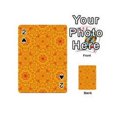 Solar Mandala  Orange Rangoli  Playing Cards 54 (mini) by bunart