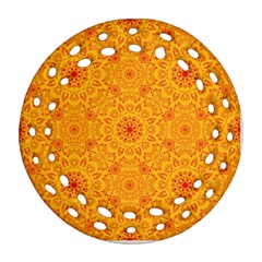 Solar Mandala  Orange Rangoli  Ornament (round Filigree) by bunart