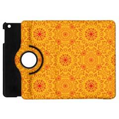Solar Mandala  Orange Rangoli  Apple Ipad Mini Flip 360 Case by bunart
