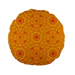 Solar Mandala  Orange Rangoli  Standard 15  Premium Round Cushion  by bunart