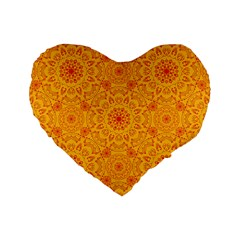 Solar Mandala  Orange Rangoli  Standard 16  Premium Heart Shape Cushion  by bunart