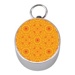 Solar Mandala  Orange Rangoli  Silver Compass (mini) by bunart