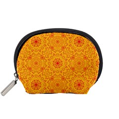 Solar Mandala  Orange Rangoli  Accessory Pouch (small) by bunart