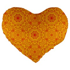 Solar Mandala  Orange Rangoli  Large 19  Premium Flano Heart Shape Cushion by bunart