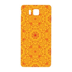 Solar Mandala  Orange Rangoli  Samsung Galaxy Alpha Hardshell Back Case by bunart