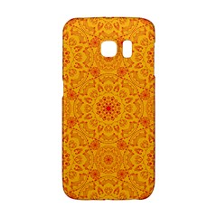 Solar Mandala  Orange Rangoli  Samsung Galaxy S6 Edge Hardshell Case by bunart