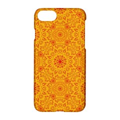 Solar Mandala  Orange Rangoli  Apple Iphone 7 Hardshell Case by bunart
