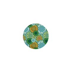 Forest Spirits  Green Mandalas  1  Mini Button by bunart