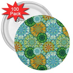 Forest Spirits  Green Mandalas  3  Button (100 Pack) by bunart