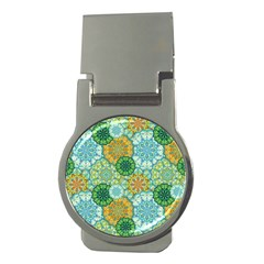 Forest Spirits  Green Mandalas  Money Clip (round) by bunart