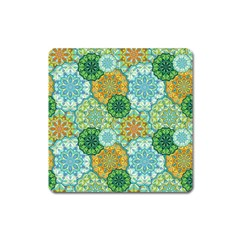 Forest Spirits  Green Mandalas  Magnet (square) by bunart