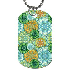 Forest Spirits  Green Mandalas  Dog Tag (one Side) by bunart