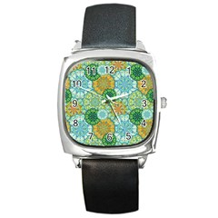 Forest Spirits  Green Mandalas  Square Metal Watch by bunart