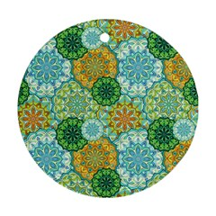 Forest Spirits  Green Mandalas  Round Ornament (two Sides) by bunart