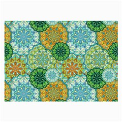 Forest Spirits  Green Mandalas  Large Glasses Cloth (2 Sides) by bunart