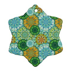 Forest Spirits  Green Mandalas  Snowflake Ornament (two Sides) by bunart