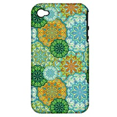 Forest Spirits  Green Mandalas  Apple Iphone 4/4s Hardshell Case (pc+silicone) by bunart