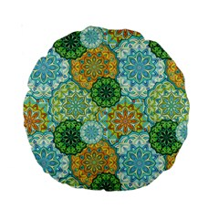 Forest Spirits  Green Mandalas  Standard 15  Premium Round Cushion  by bunart