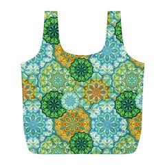 Forest Spirits  Green Mandalas  Full Print Recycle Bag (l) by bunart