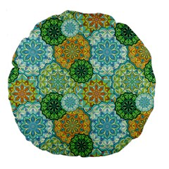 Forest Spirits  Green Mandalas  Large 18  Premium Flano Round Cushion  by bunart