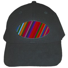 Color Stripes Pattern Black Cap by Simbadda
