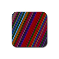 Color Stripes Pattern Rubber Coaster (square)  by Simbadda
