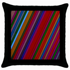 Color Stripes Pattern Throw Pillow Case (black) by Simbadda