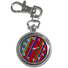 Color Stripes Pattern Key Chain Watches by Simbadda