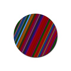 Color Stripes Pattern Rubber Coaster (round)  by Simbadda